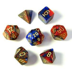 Set de 7 Dés : Gemini Bleu et Rouge