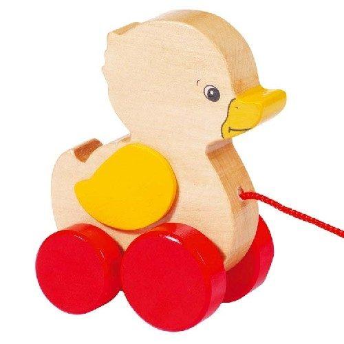 Charmant petit canard à tirer en bois de marque Goki.