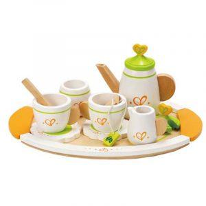 Service à thé en bois pour jeu d'imitation