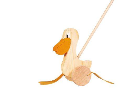 Pélican à pousser en bois pour apprendre à marcher.