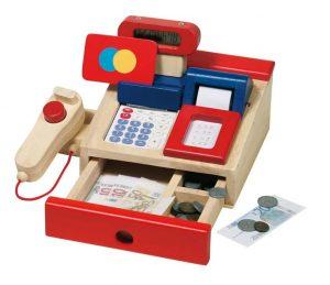 Caisse enregistreuse en bois avec calculatrice pour le jeu d'imitation de marque Goki.